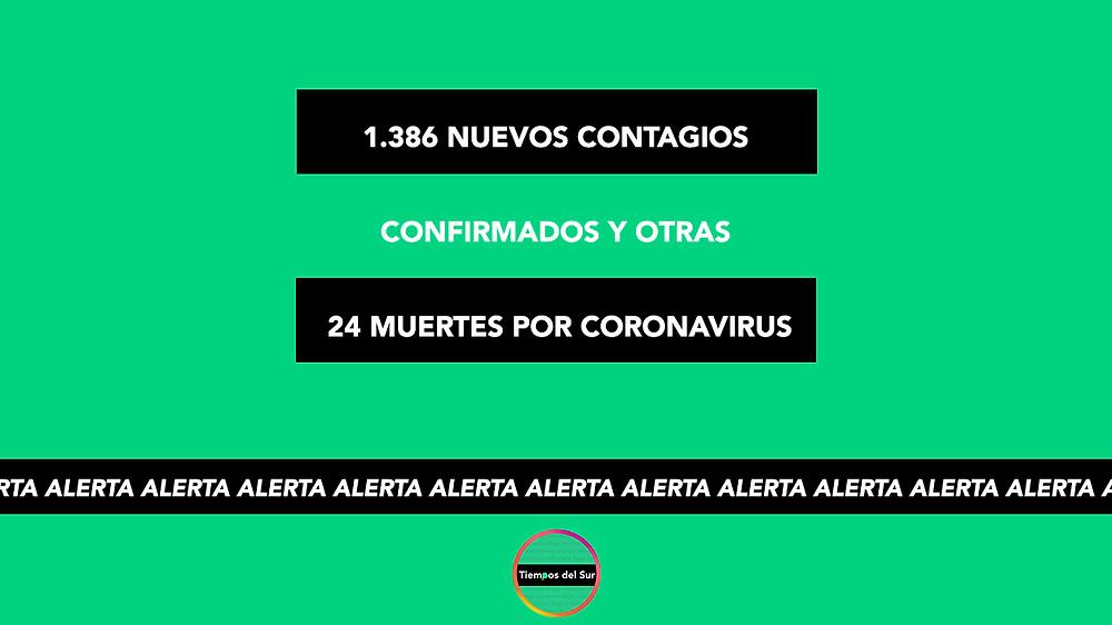 1.386 nuevos contagios confirmados y otras 24 muertes por coronavirus