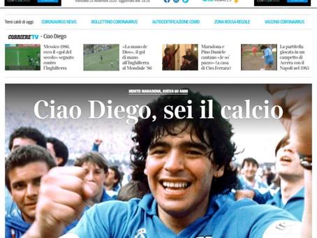 El mundo se rinde ante la partida de Maradona y así lo reflejaron los titulares
