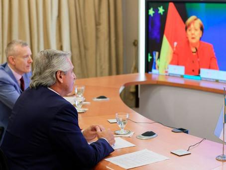 Alberto Fernández agradeció a Merkel el apoyo de Alemania a la negociación argentina con el FMI
