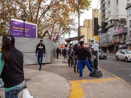 Avanzan las obras de puesta en valor de la Plaza Hipólito Yrigoyen