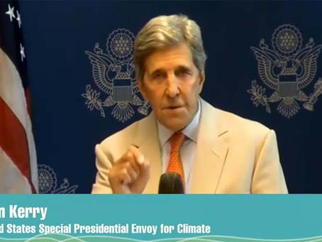 """Kerry pidió """"acelerar las acciones"""" para evitar el cambio climático y destacó el liderazgo de Fernán"""