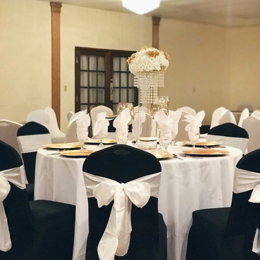 Black Chair Cover and White Sash