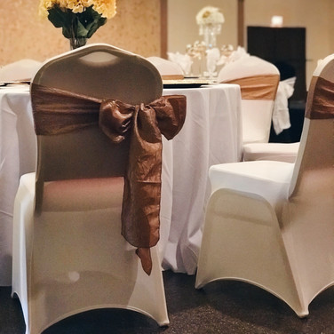 Ivory Chair Cover and Gold Sash