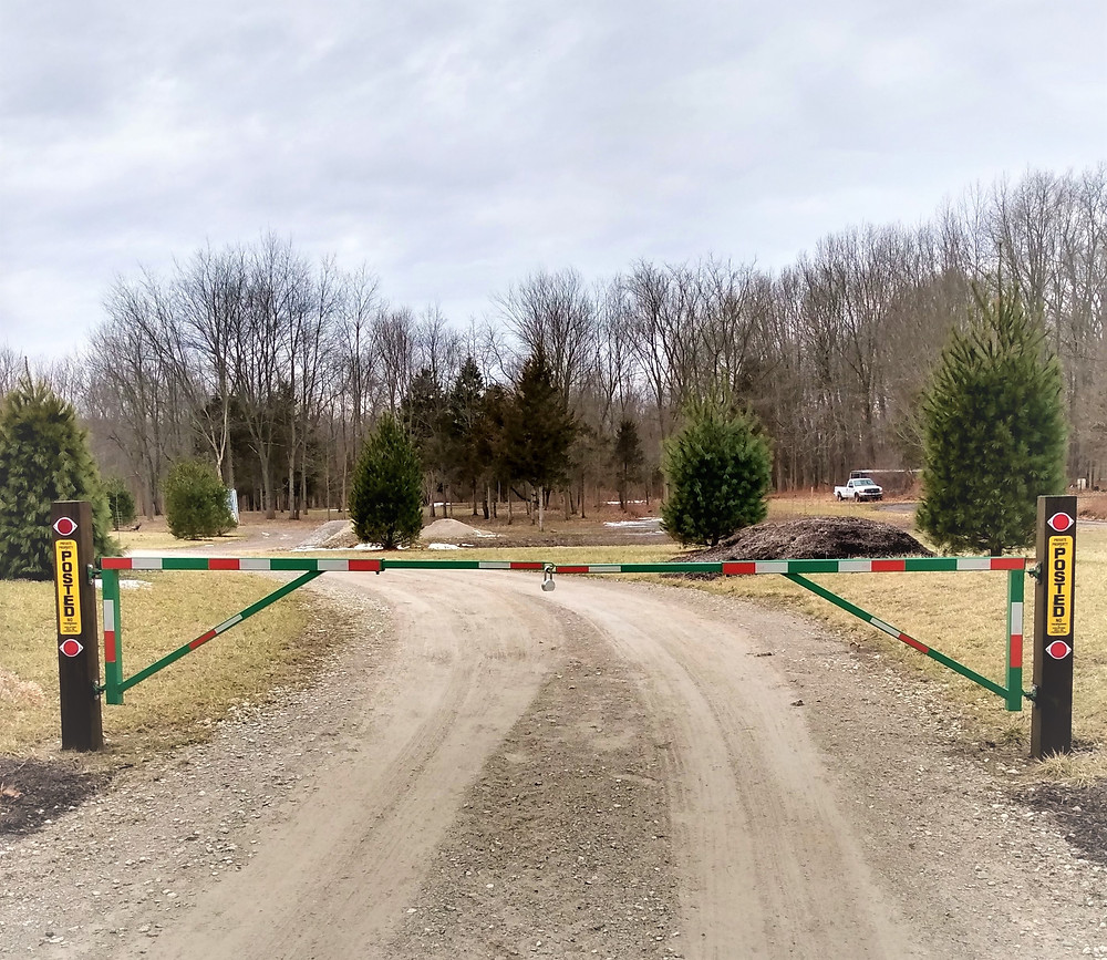 Gate at the end of the driveway