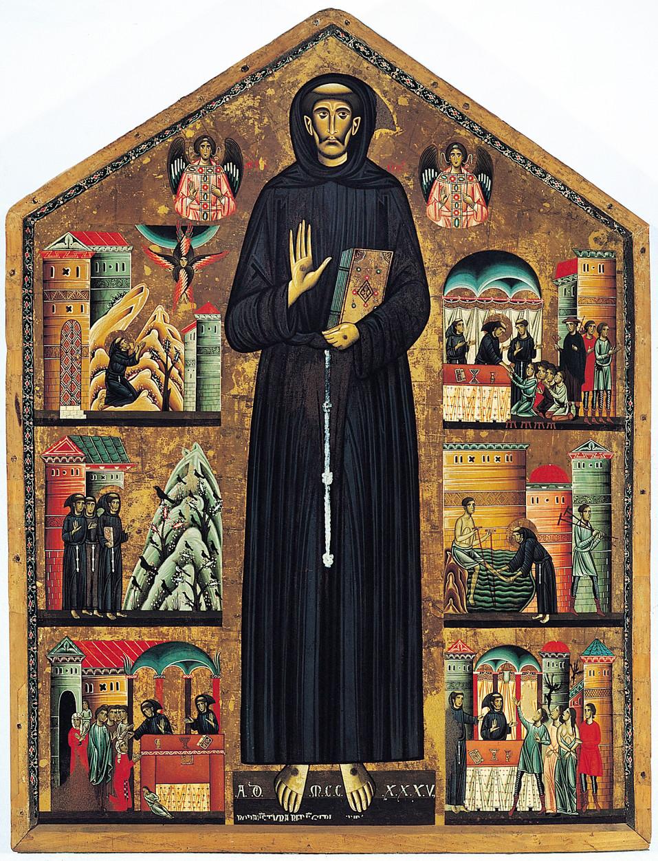 """""""Saint Francis of Assisi and scenes of his life,"""" 1235, Bonaventura Berlinghieri"""
