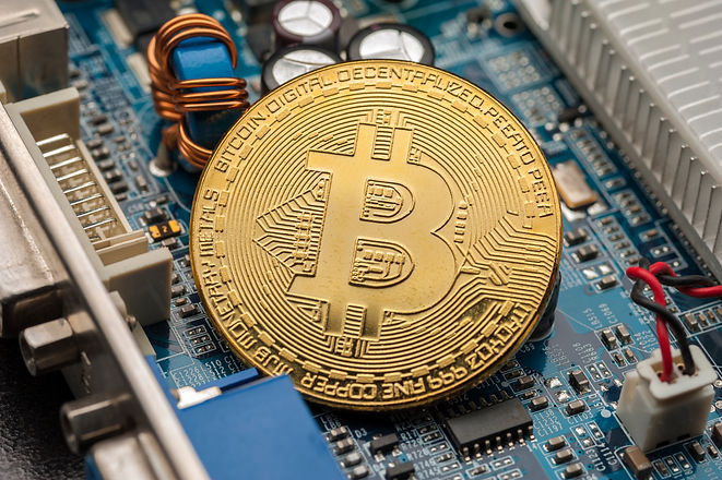 Digital crypto currency. Golden bitcoin