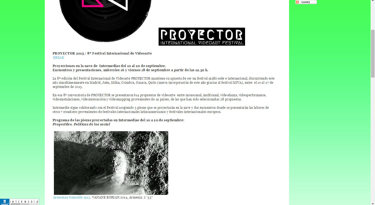 Proyector video art festival