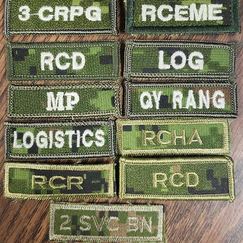 Unit Identifier (Tab) for both Velcro or Slipon ranks
