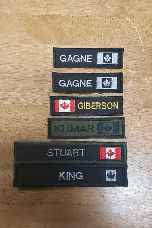 Name tags with flag