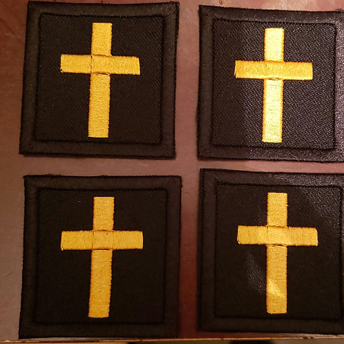 Black fabric with gold cross