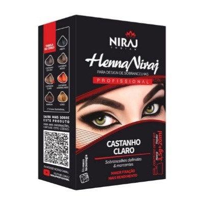 Kit Henna para Sobrancelha Niraj Castanho Claro + Fixador