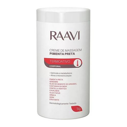 Creme para Massagem Corporal Raavi Pimenta Preta 1kg