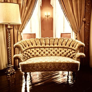 Bacarella Fabrics, Gold Luxurious Chair & Curtains