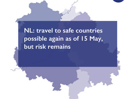NL: travel to safe countries possible again as of 15 May, but risk remains
