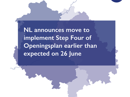 NL announces move to implement Step Four of Openingsplan earlier than expected on 26 June