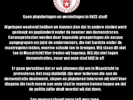 """Angel-Side, MVV Maastricht supporter group responds to rioters across NL: """"stay away from our city"""""""