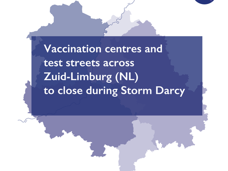 Vaccination centres and test streets across Zuid-Limburg (NL) to close during Storm Darcy