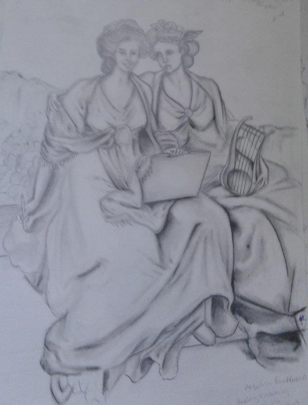 beautiful women sketch, prison art