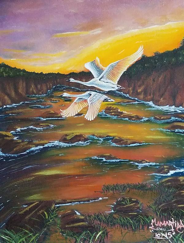 swans, oil painting, prison art