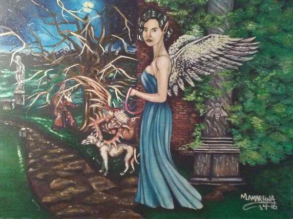 Dichotomy, dark angel, oil painting