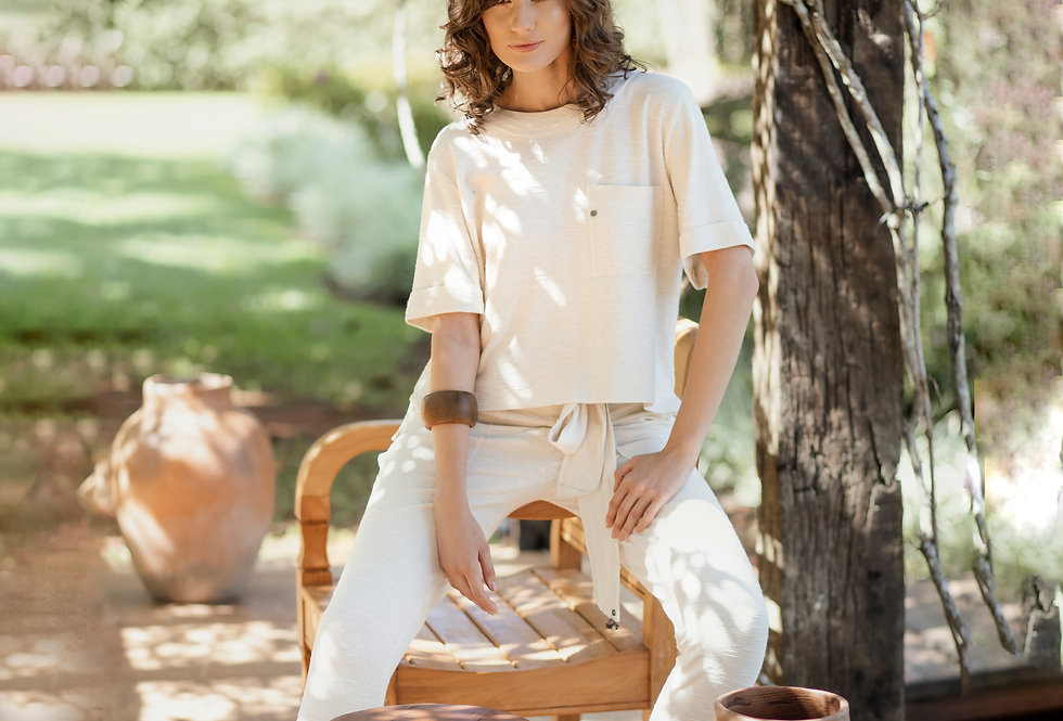 Conjunto moletinho costura e blusa de malha com bolso