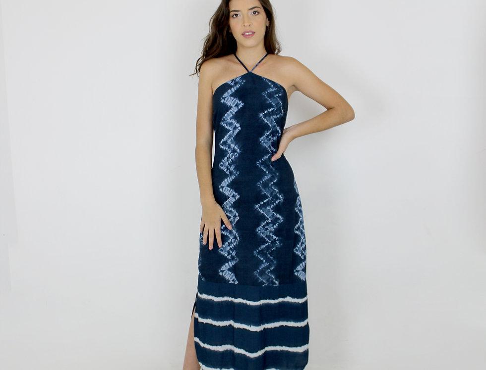vestido longo c/ barrado