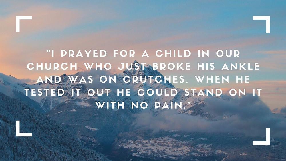 Healing a broken ankle, healing a child, no pain
