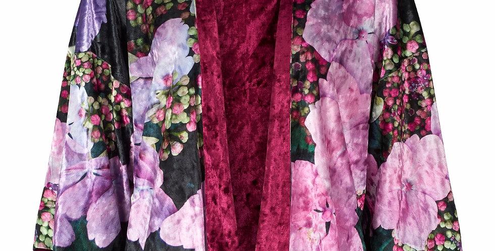 From My Mothers Garden Velvet Hydrangea Reversible Kimono
