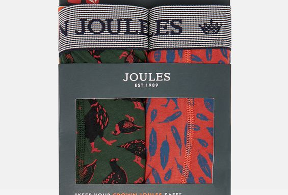 Joules Mens Pack of 2 Boxers Game