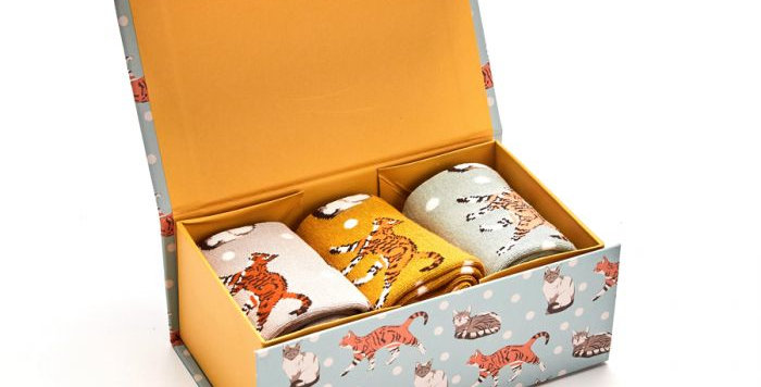 Miss Sparrow Cats Sock Box