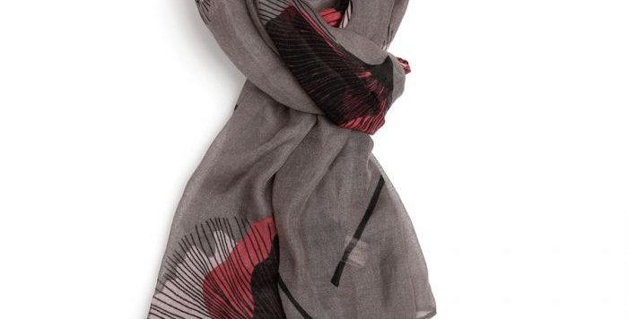 Miss Sparrow Scarf Grey Poppy Design