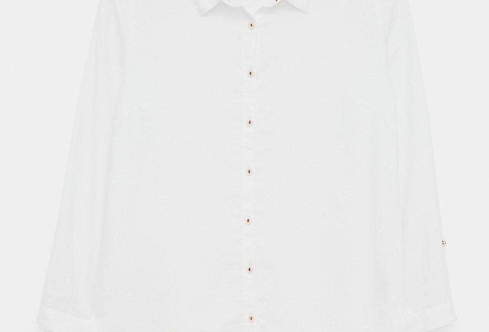 White Stuff Emma Organic Pale Ivory Spot Shirt