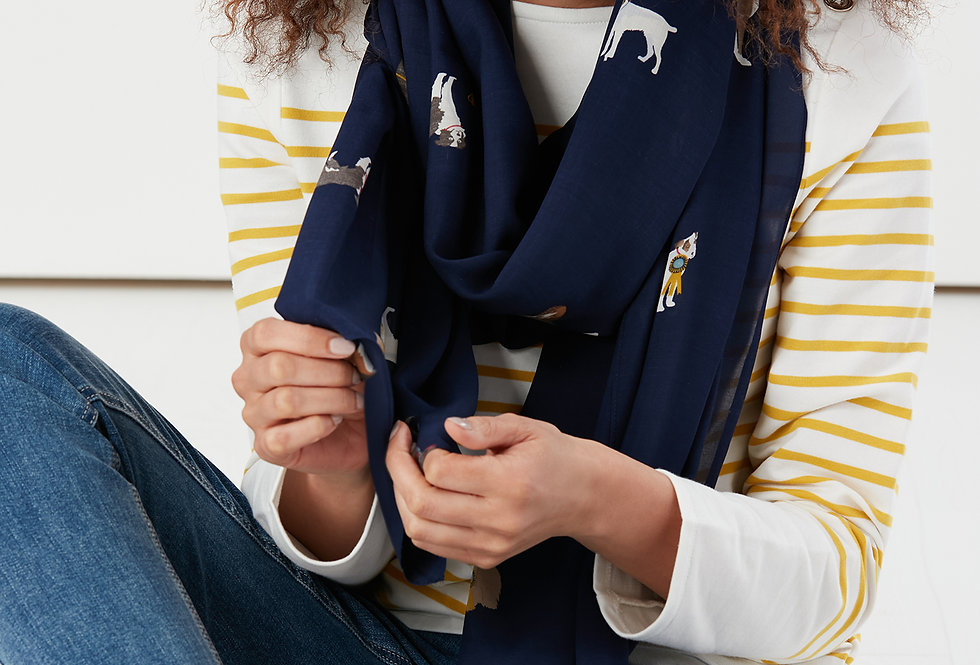 Joules Conway Scarf Navy Dogs