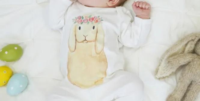 Flower Crown Bunny Baby Sleepsuit