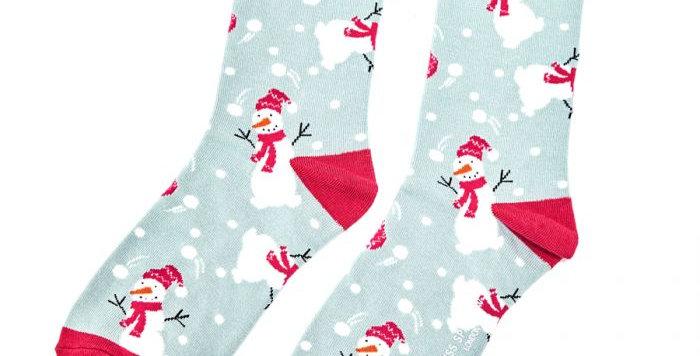 Miss Sparrow Snowmen Duck Egg Socks