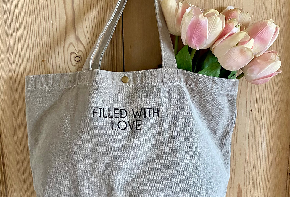 Embroidered Filled With Love Tote Bag