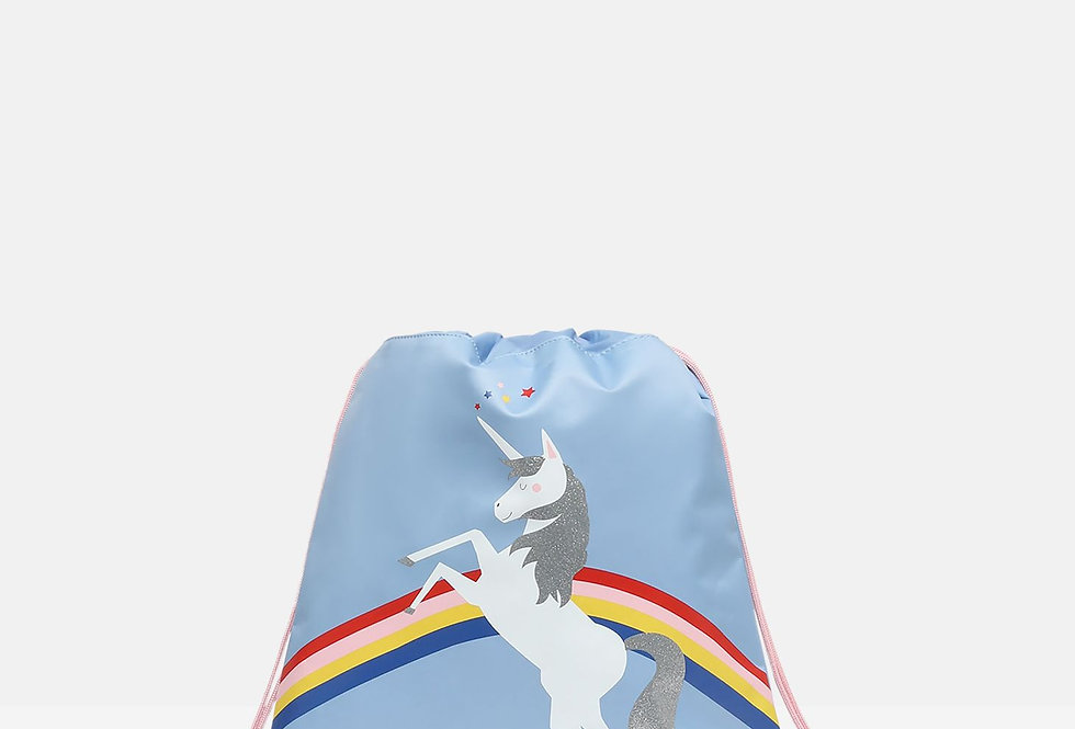 Joules Active Drawstring Bag Blue Unicorn