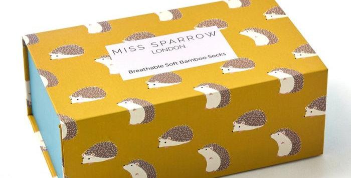 Miss Sparrow Hedgehog Sox Box