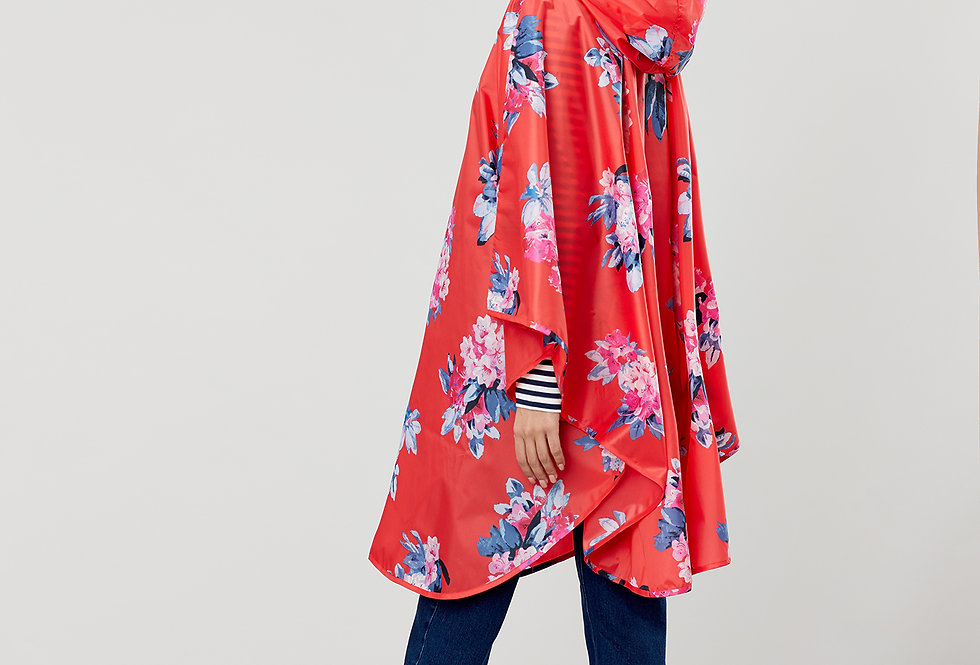 Joules Poncho Red Floral