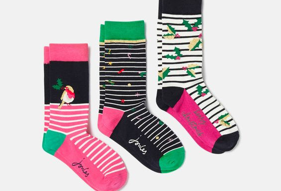 Joules Ladies 3pk of Christmas Bamboo Socks