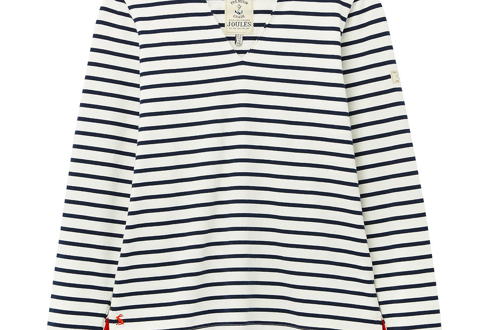 Joules Harbour Notch Neck Jersey Top Cream/Navy Stripe