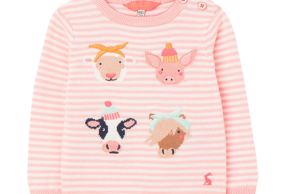 Joules Holly Baby Pink Faces Jumper