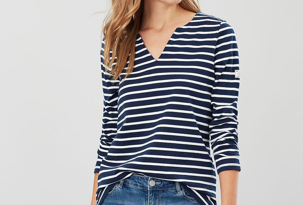 Joules Harbour Notch Neck Jersey Top Navy/Cream Stripe