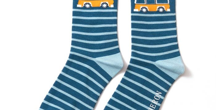 Mr Heron Camper Van Teal Stripe Socks