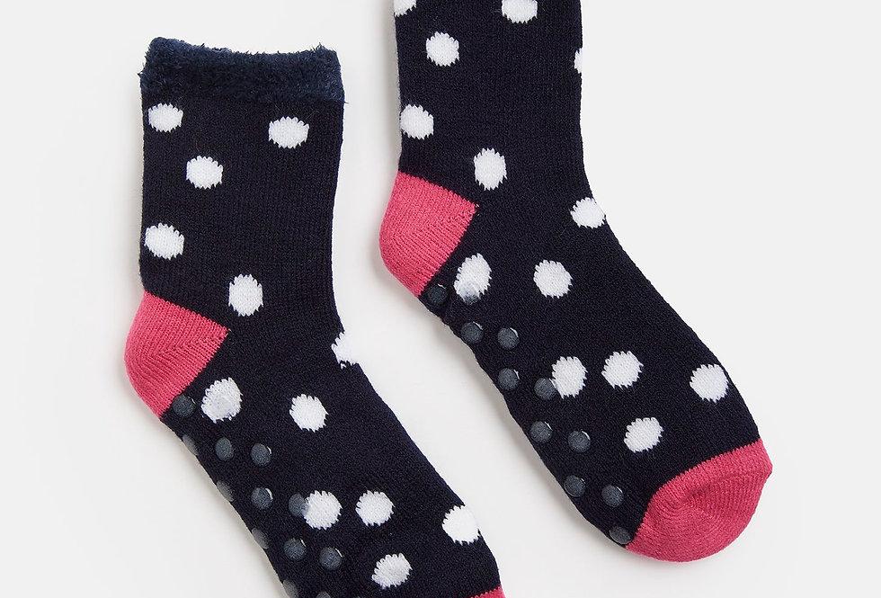 Joules Cabin Socks Navy Cream Spot