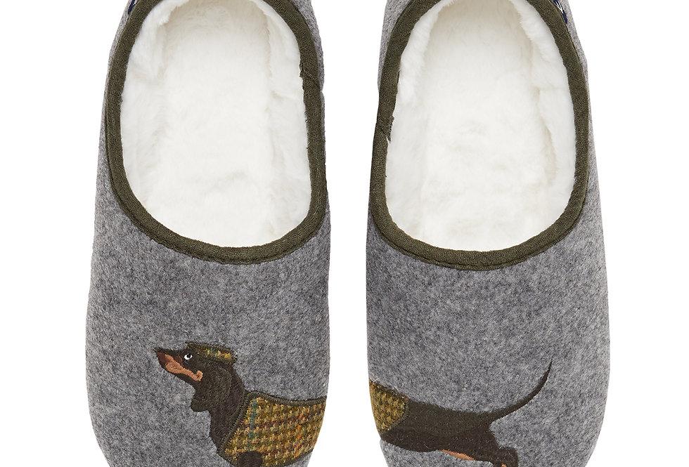 Joules Slippet Grey Daschund Slippers