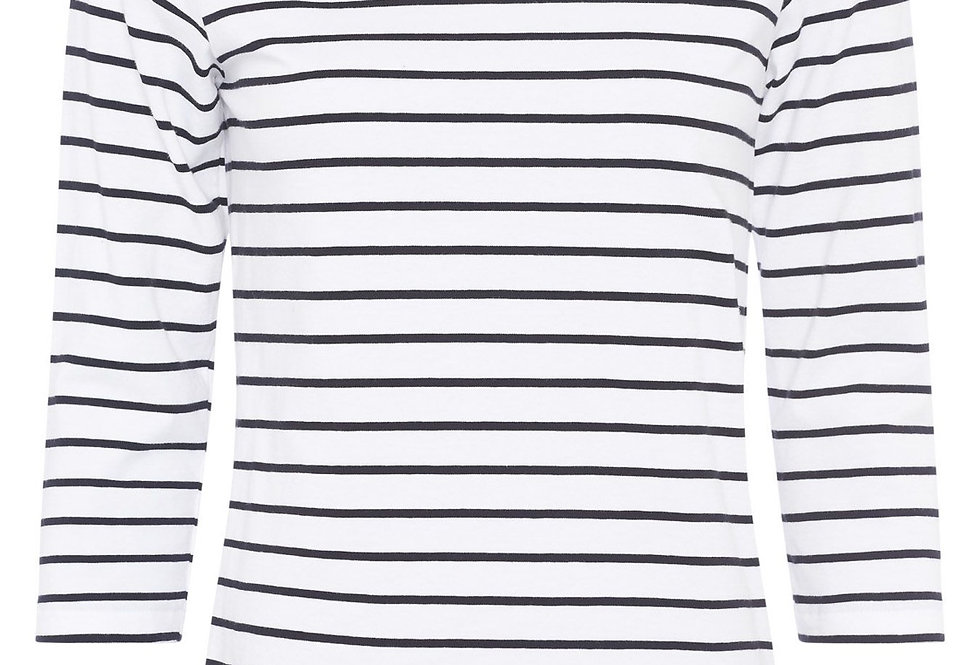 Great Plains Organic Cotton Black Striped 3/4 Sleeved Top