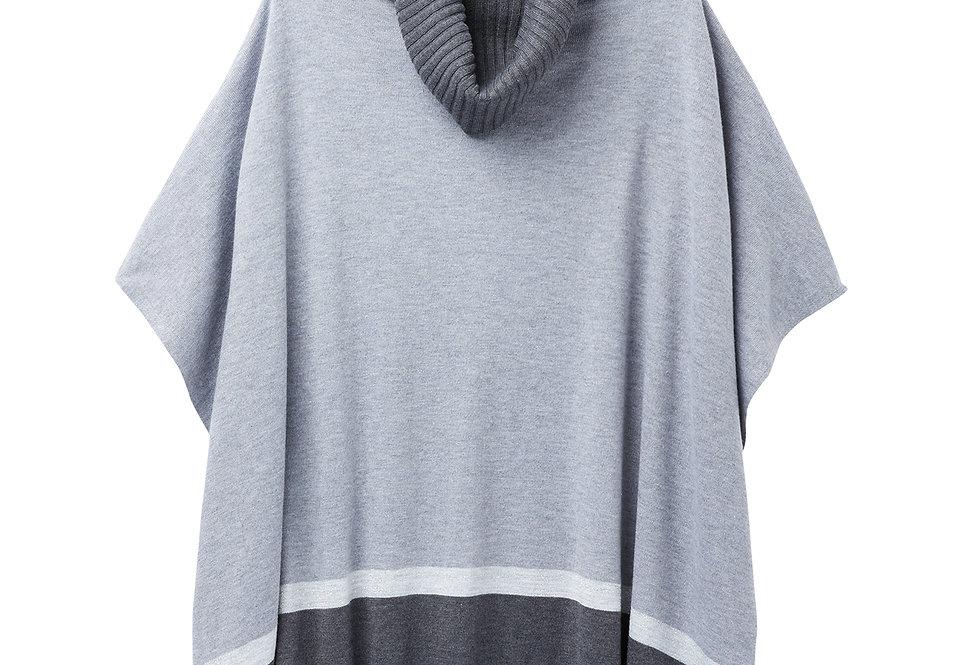 Joules Kari Poncho Grey Stripe