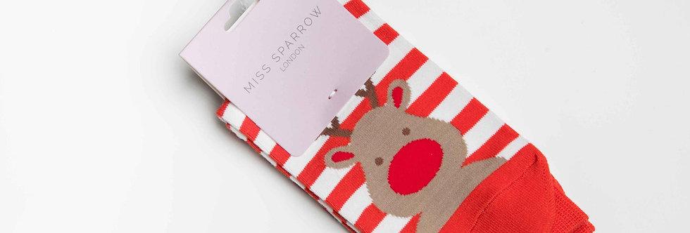 Miss Sparrow Rudolph Red  Socks