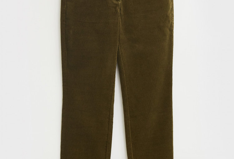 White Stuff Brooke Straight Khaki Green Cord Trousers